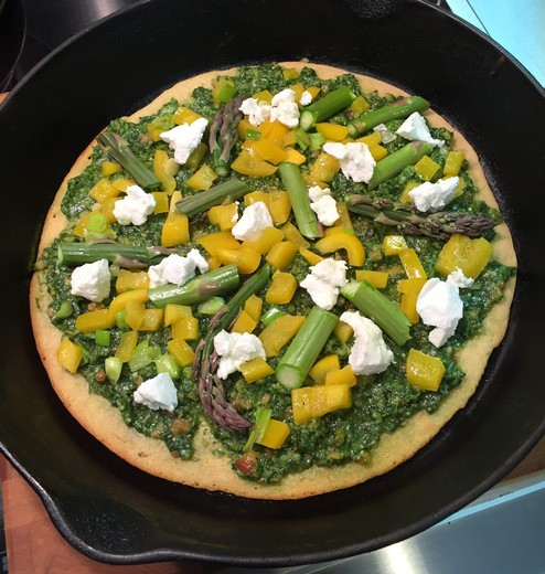 Socca Pizza with Ramp Pesto & Goat Cheese