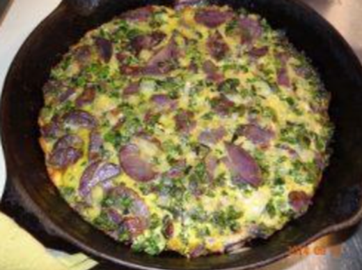 Blue Potato and Green Frittata