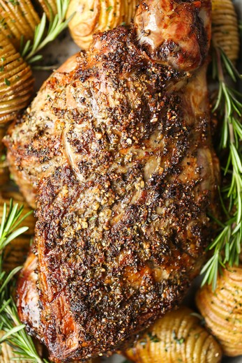Leg of Lamb with Spicy Mustard Marinade